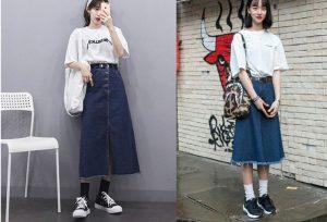 Cách phối đồ với chân váy jean dài